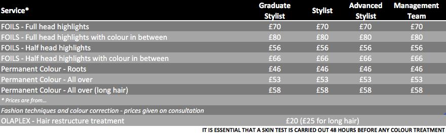 Price List - colouring